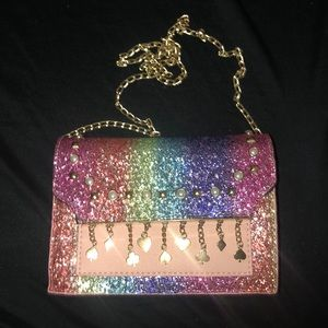 Rainbow Glitter Card Suit Accent Purse